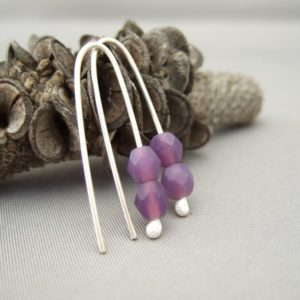 Hydrangea Pastille Czech Glass and Sterling Silver Earrings