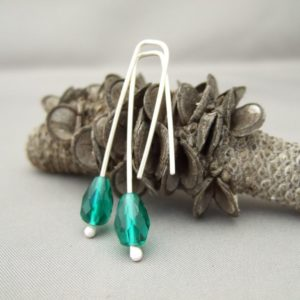 Arctic Green Teardrop Czech Glass and Sterling Silver Earrings