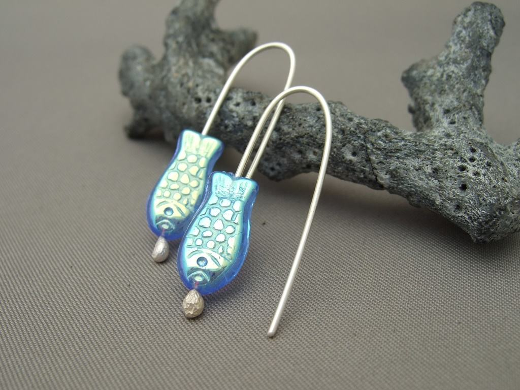 Dark Blue Czech Glass Fish and Sterling Silver Earrings