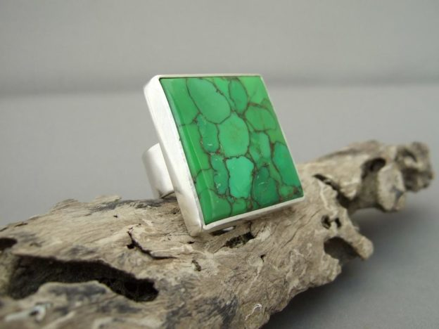 Green Mojave Turquoise and Sterling Silver Ring