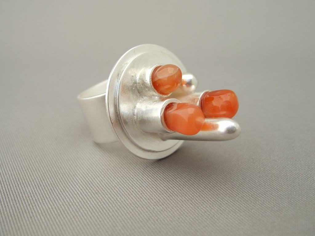 Carnelian and Sterling Silver Power Station Ring