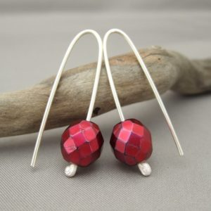 Mulled Wine Red Czech Glass and Sterling Silver Earrings
