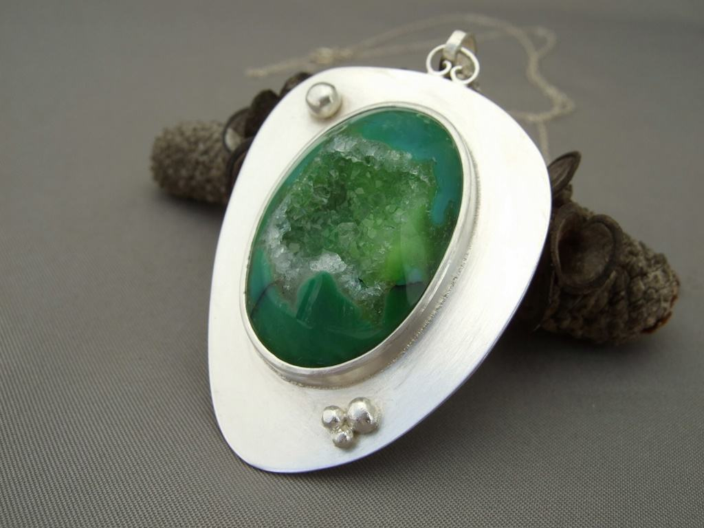 Bright Green Drusy Agate and Granulation Sterling Silver Pendant