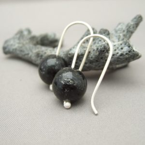 Biotite Gemstone and Sterling Silver Earrings