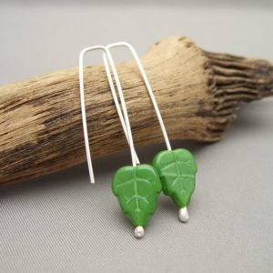 Bright Green Czech Glass Leaf and Sterling Silver Earrings