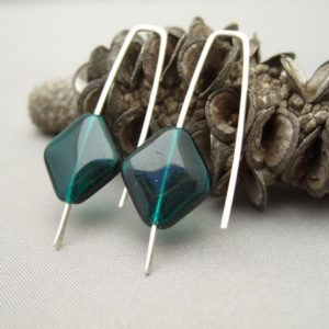 Mediterranean Green Rhombus Czech Glass and Sterling Silver Earrings