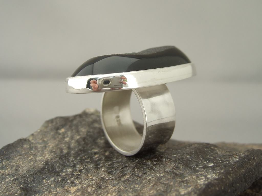 Black Drusy Agate and Sterling Silver Ring