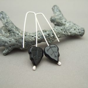 Black Autumn Leaf Czech Glass and Sterling Silver Earrings