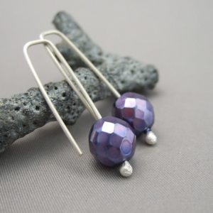 Iris Purple Faceted Czech Glass and Sterling Silver Earrings