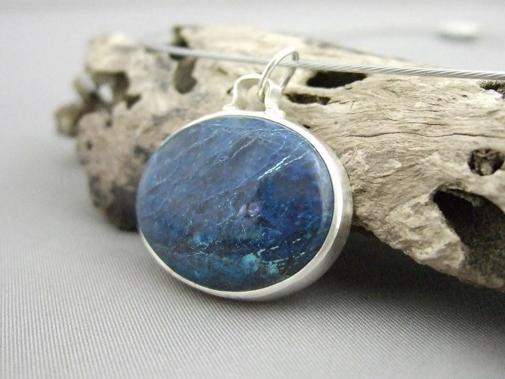 Shattuckite and Sterling Silver Pendant