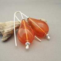 Orange Handblown Glass Teardrop Bubble and Sterling Silver Earrings