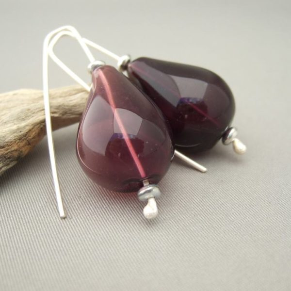 Wine Handblown Glass Teardrop Bubble and Sterling Silver Earrings