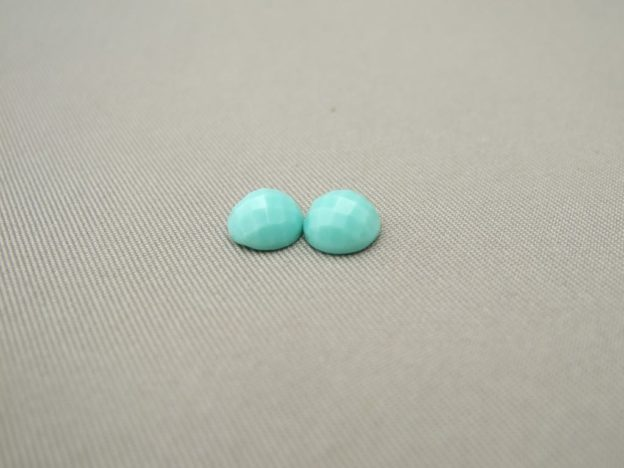 Turquoise Round Checkerboard 6mm Cabochon