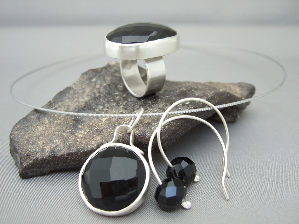 Faceted Onyx Jewellery Set