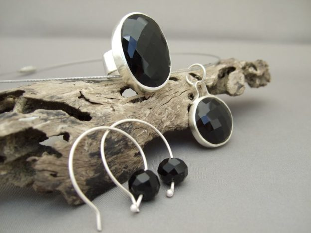 Faceted Black Onyx Jewellery Set