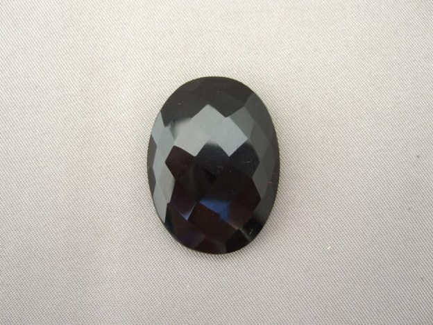 Black Onyx Checkerboard Faceted Cabochon