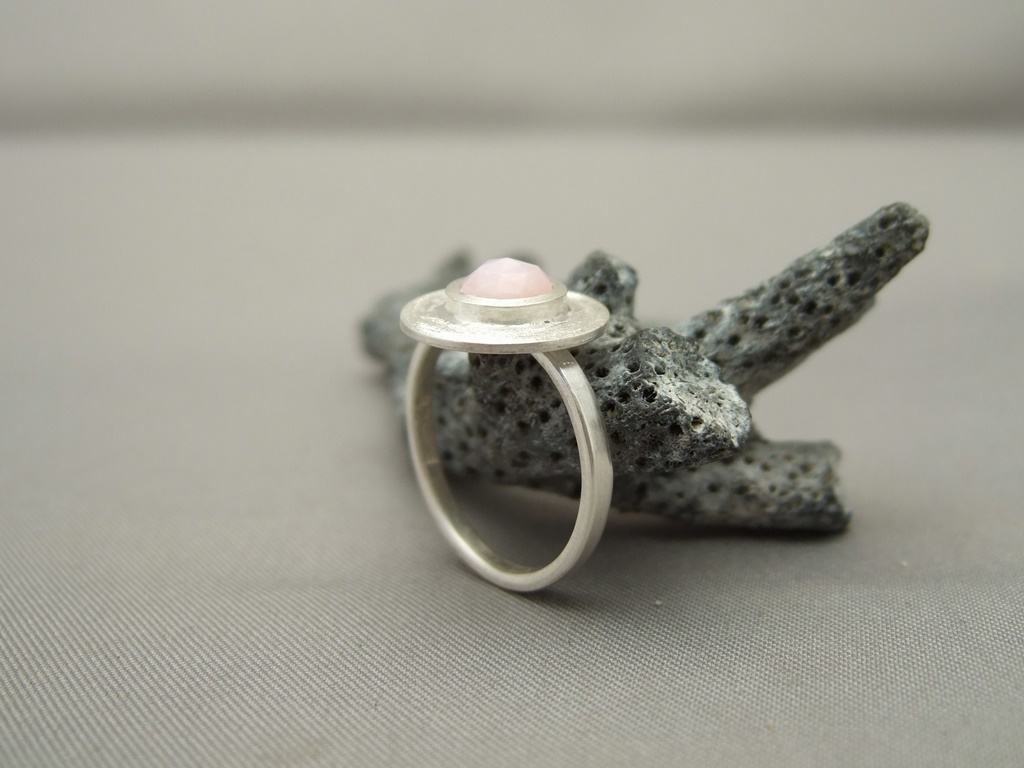 Pink Onyx and Sterling Silver Ring