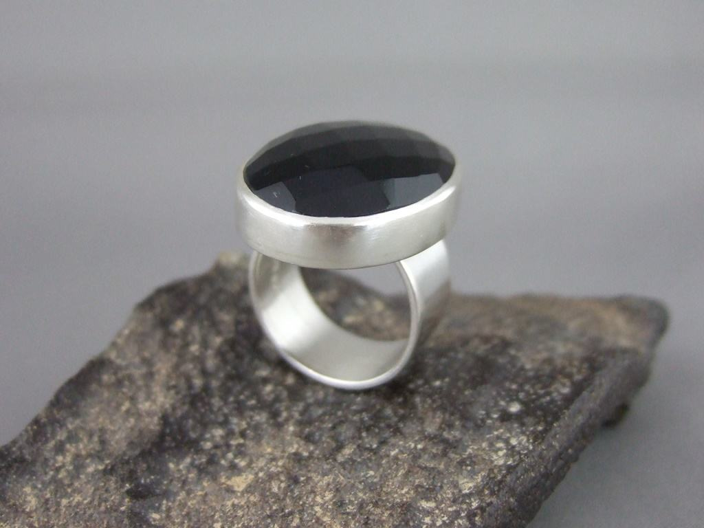 Checkerboard Black Onyx and Sterling Silver Ring