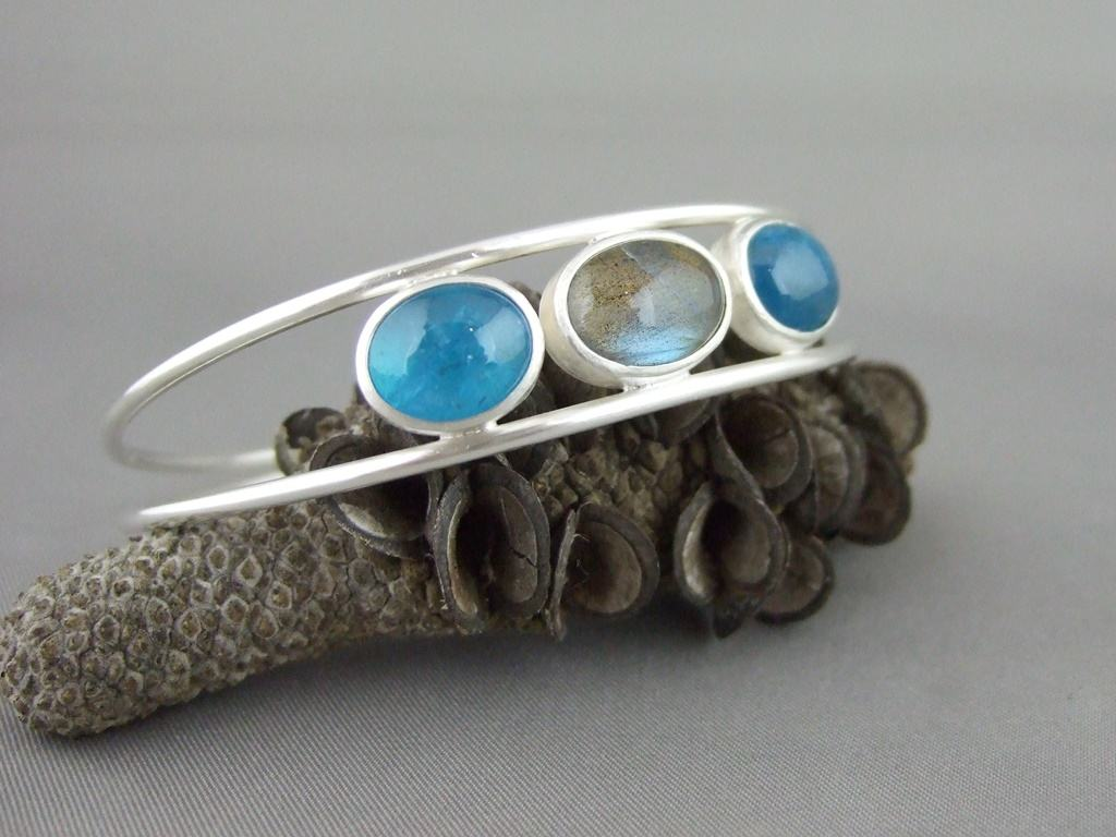 Neon Apatite and Labradorite Sterling Silver Bangle