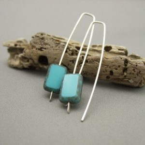 Turquoise Blue Oblong Picasso Czech Glass and Sterling Silver Earrings