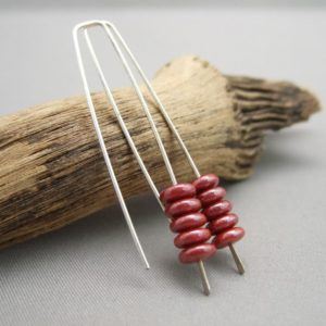 Rust Red Czech Glass Stacked Sterling Silver Earrings