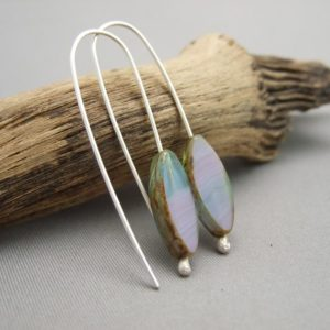 Mauve Dusk Picasso Marquis Czech Glass and Sterling Silver Earrings