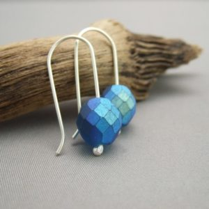 Blue Snakeskin Faceted Czech Glass and Sterling Silver Earrings