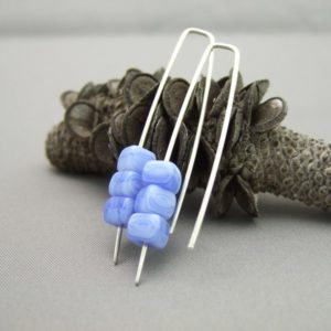 Dresden Blue Czech Glass Cube and Sterling Silver Earrings
