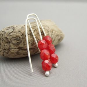Red Triple Berry Czech Glass and Sterling Silver Earrings