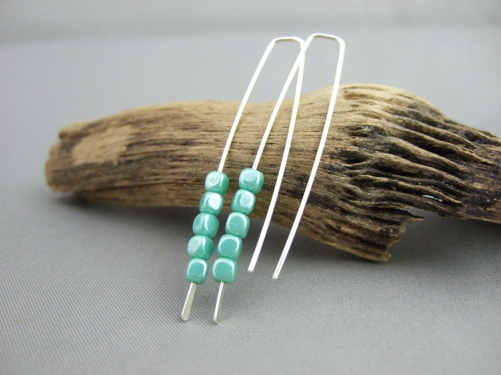 Tiny Heather Green Cube Czech Glass and Sterling Silver Earrings