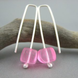 Neon Pink Czech Glass Jelly Cube and Sterling Silver Earrings