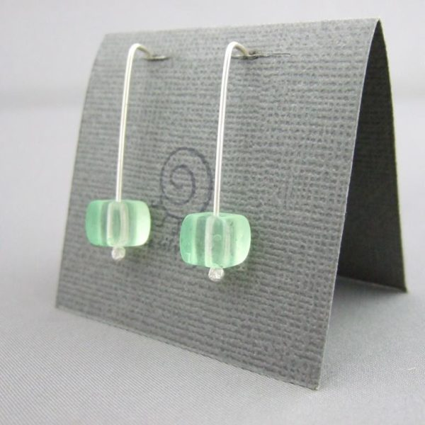 Neon Green Czech Glass Jelly Cube and Sterling Silver Earrings