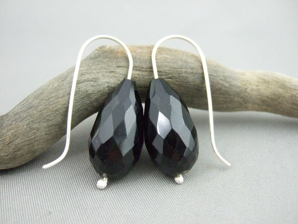 Black Onyx Teardrop and Sterling Silver Mineralist Earrings