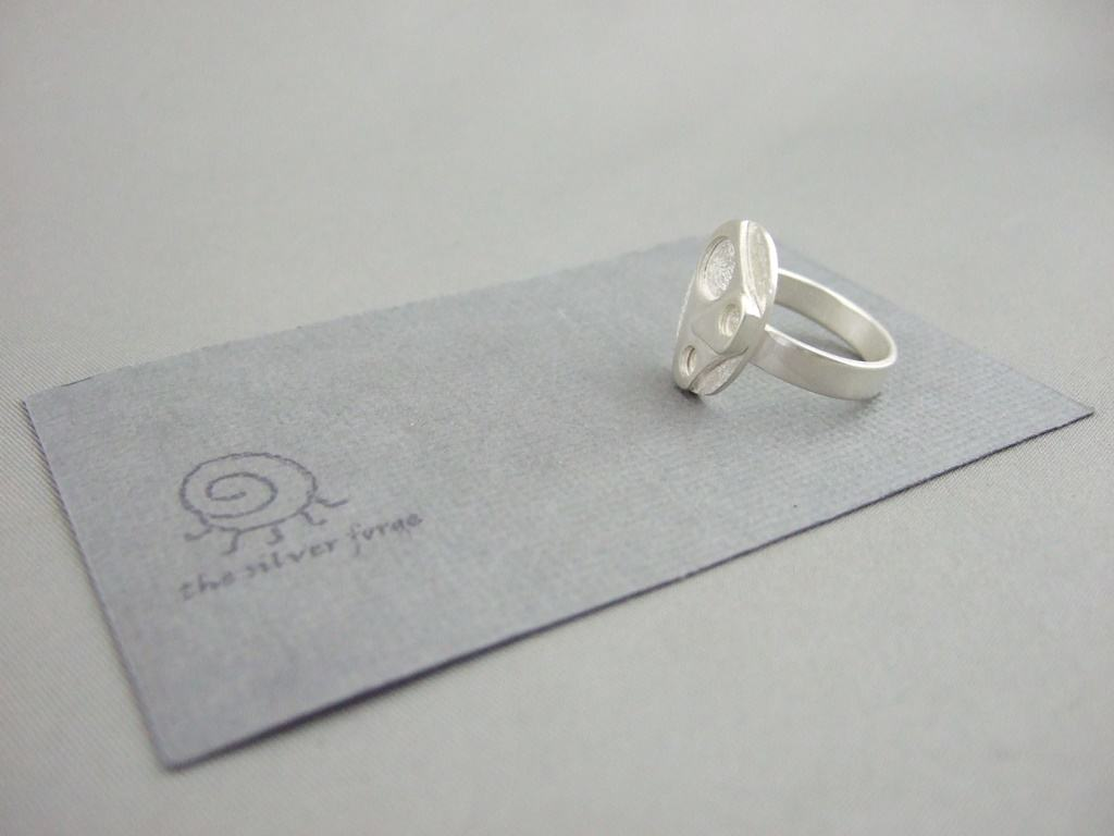 Abstract Oval Sterling Silver Ring