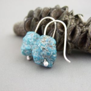 Raw Turquoise and Sterling Silver Earrings