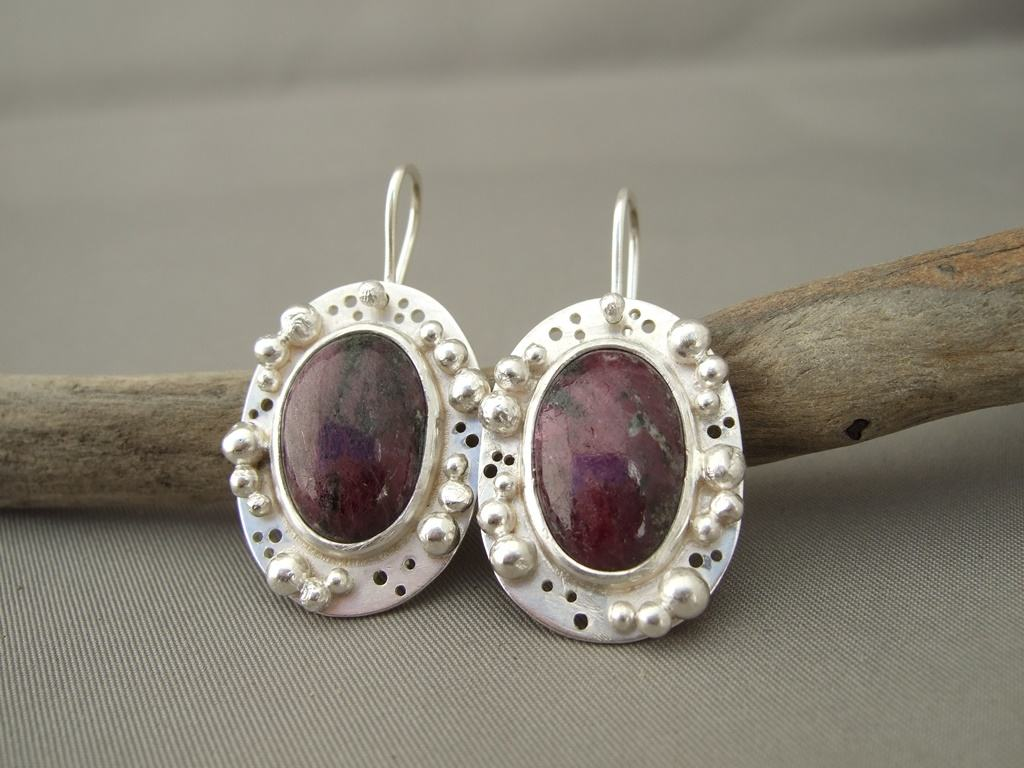 Raw Ruby and Sterling Silver Granulation Earrings
