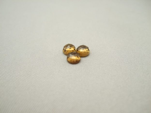 Cognac Quartz Cabochons (6mm Round Rose Cut)