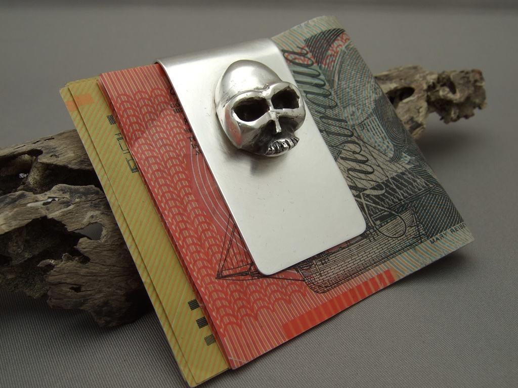 Sterling Silver Skull Money Clip