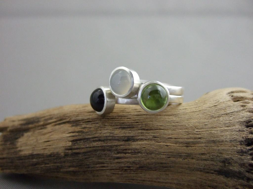Peridot, Black Onyx and Moonstone Sterling Silver Stacking Rings