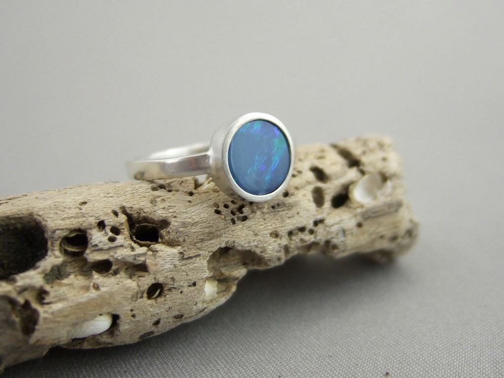Boulder Opal and Sterling Silver Ring