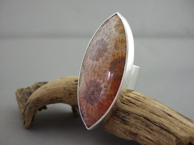 Agatised Fossil Coral and Sterling Silver Ring