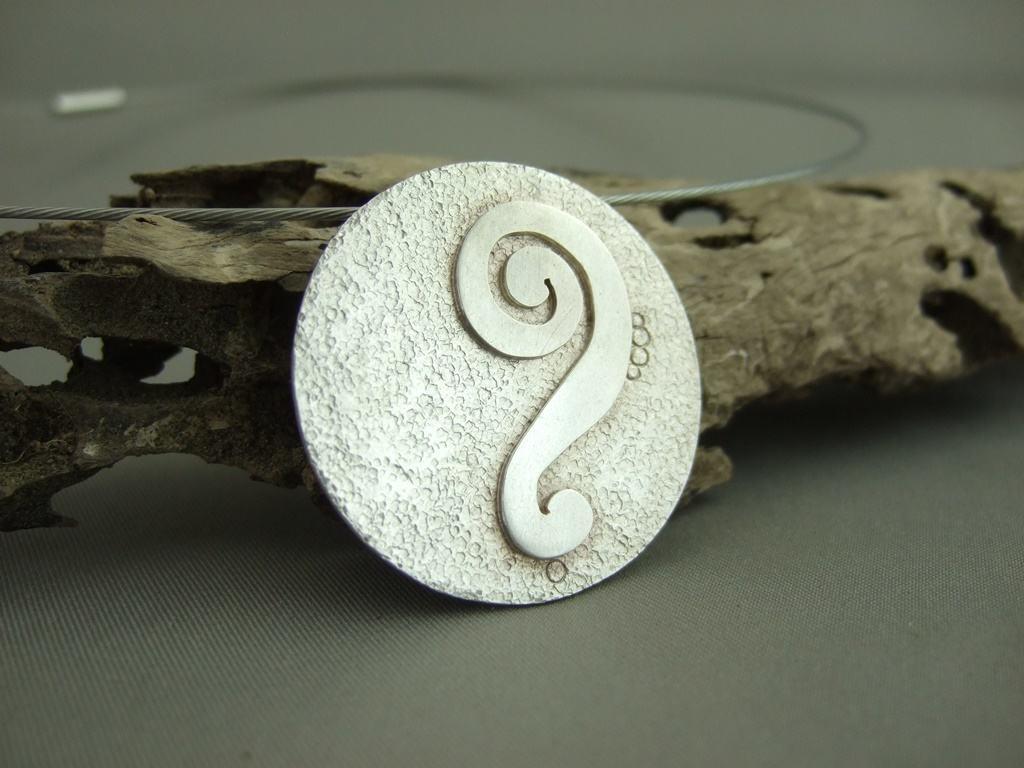 Sterling Silver Textured Overlay Spiral Bass Clef Pendant