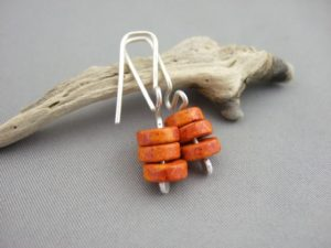 Orange Meander Greek Ceramic and Sterling Silver Earrings