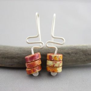 Spice Meander Greek Ceramic and Sterling Silver Earrings