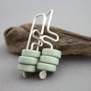 Sage Meander Greek Ceramic and Sterling Silver Earrings