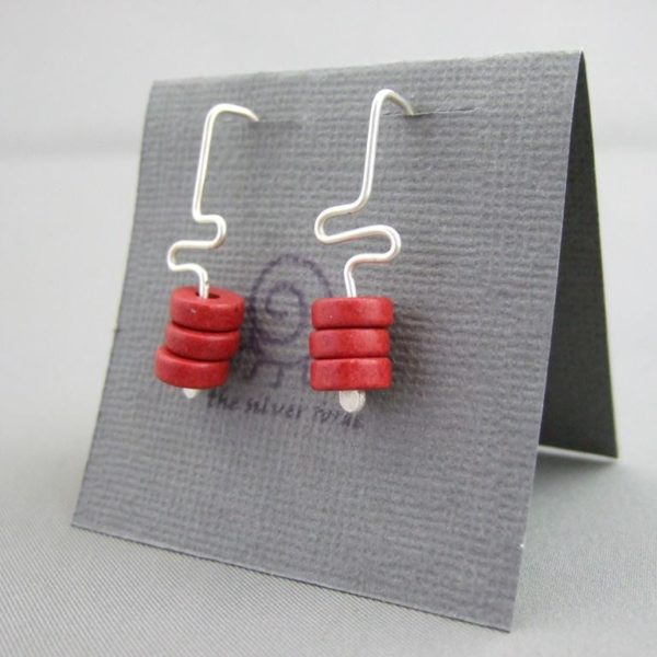 Red Meander Greek Ceramic and Sterling Silver Earrings