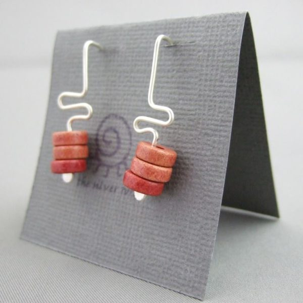 Coral Meander Greek Ceramic and Sterling Silver Earrings