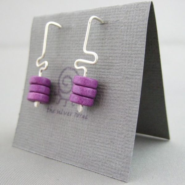 Aubergine Purple Meander Greek Ceramic and Sterling Silver Earrings