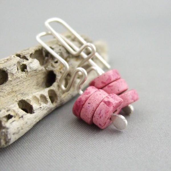 Elafonissi Pink Meander Greek Ceramic and Sterling Silver Earrings