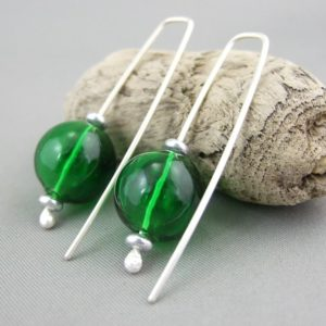 Forest Green Handblown Glass Bubble and Sterling Silver Earrings
